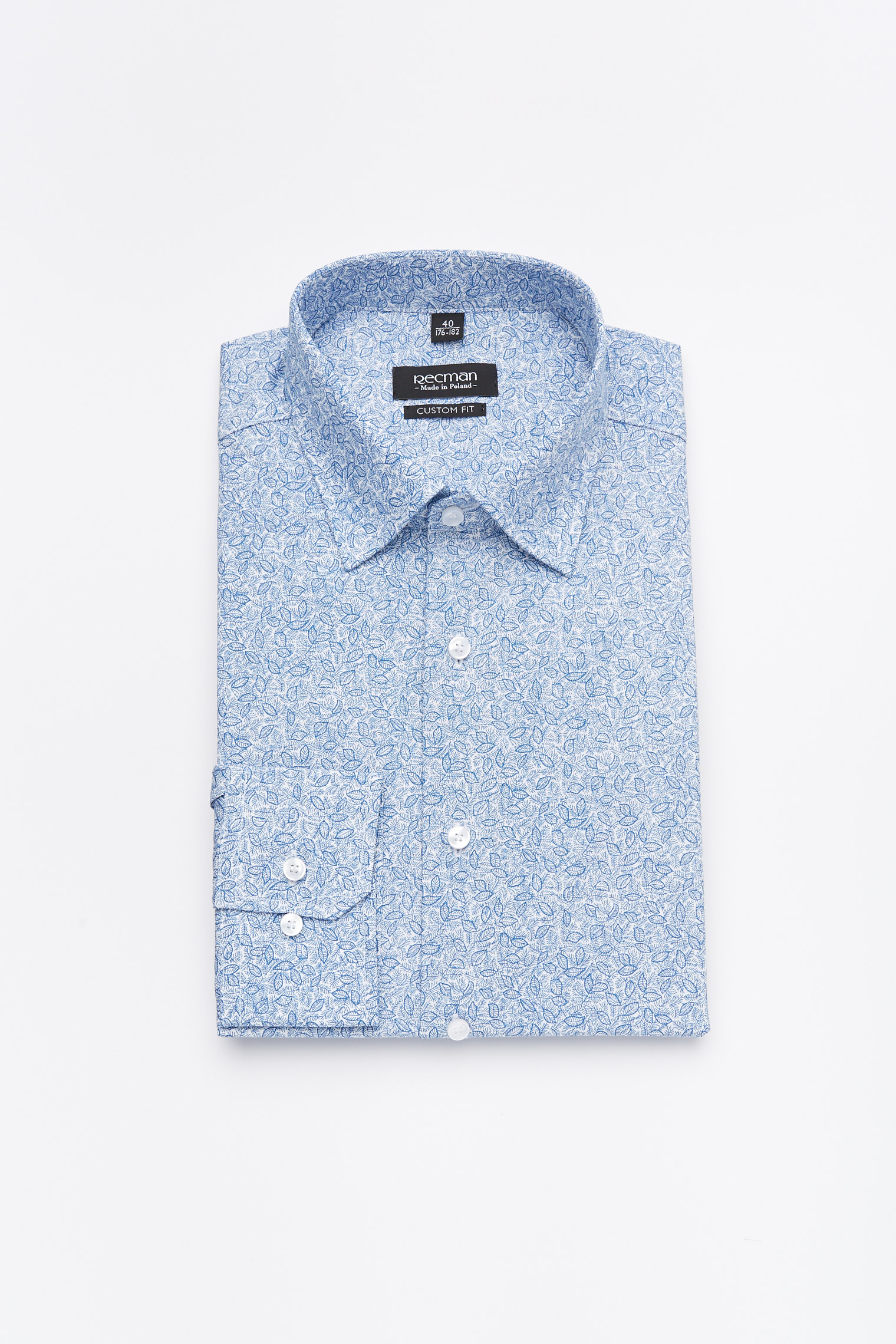 koszula versone 2933 długi rękaw custom fit niebieski