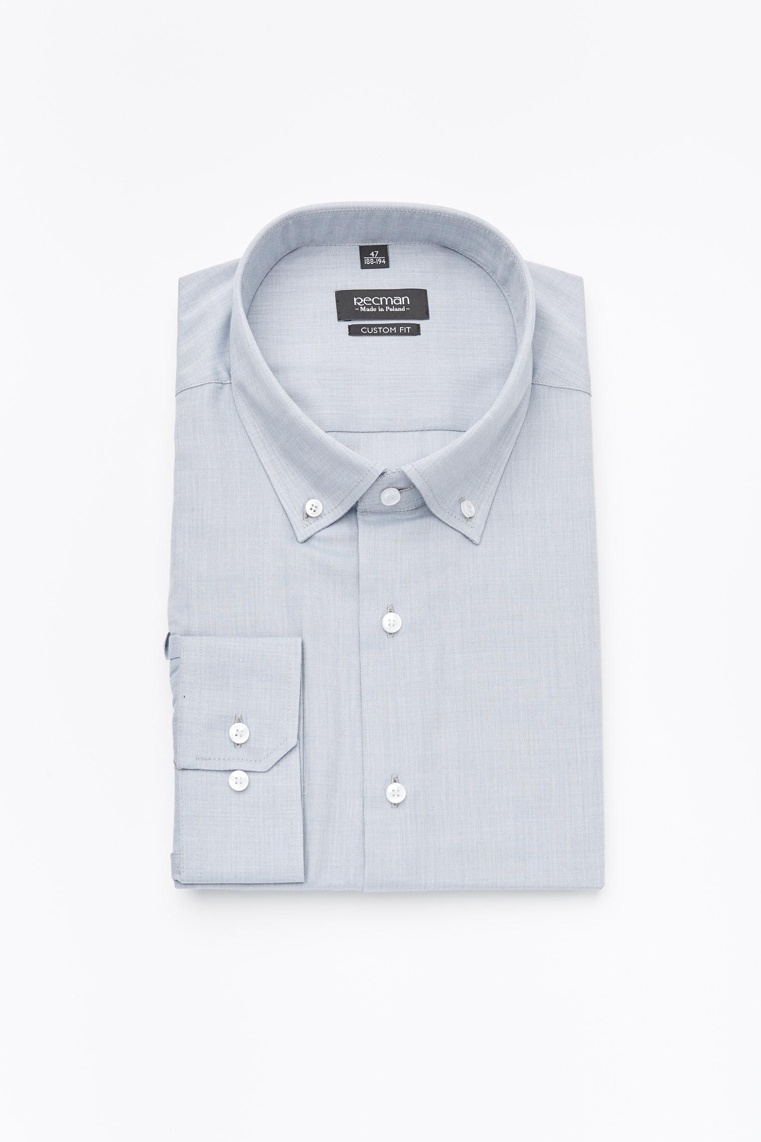 koszula versone 2587 długi rękaw custom fit szary