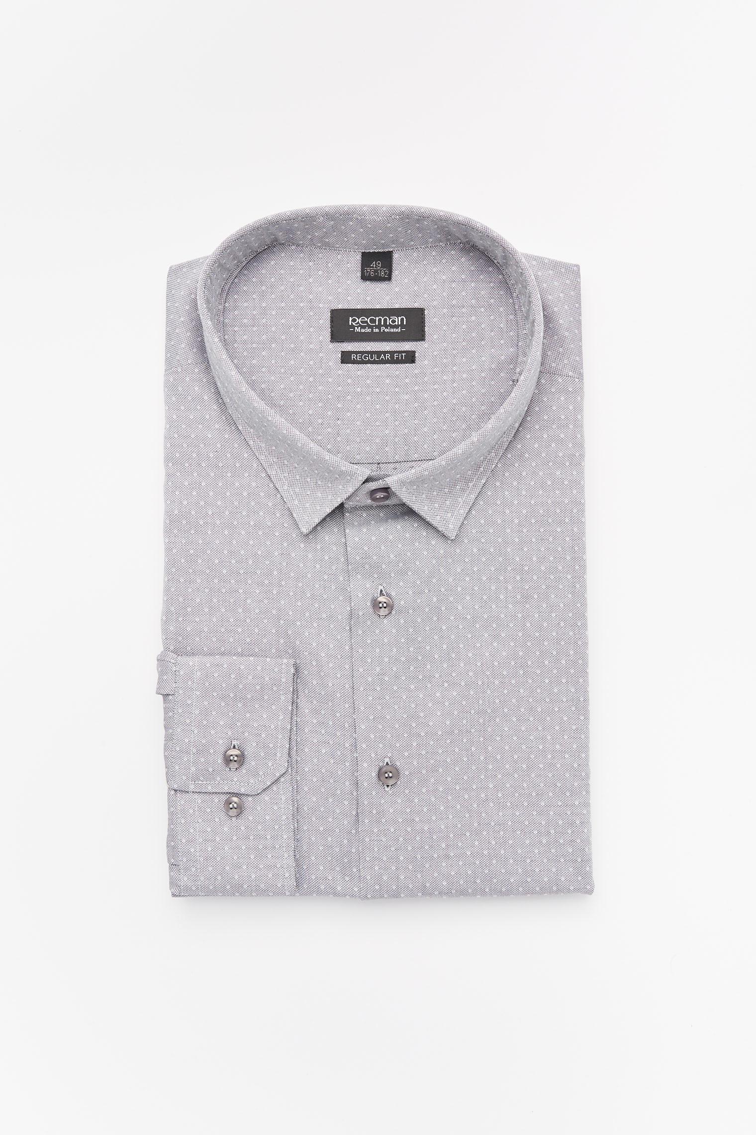 koszula versone 2237 długi rękaw custom fit szary