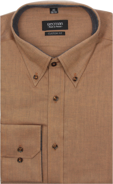 koszula navia 2196 długi rękaw custom fit pomarańczowy