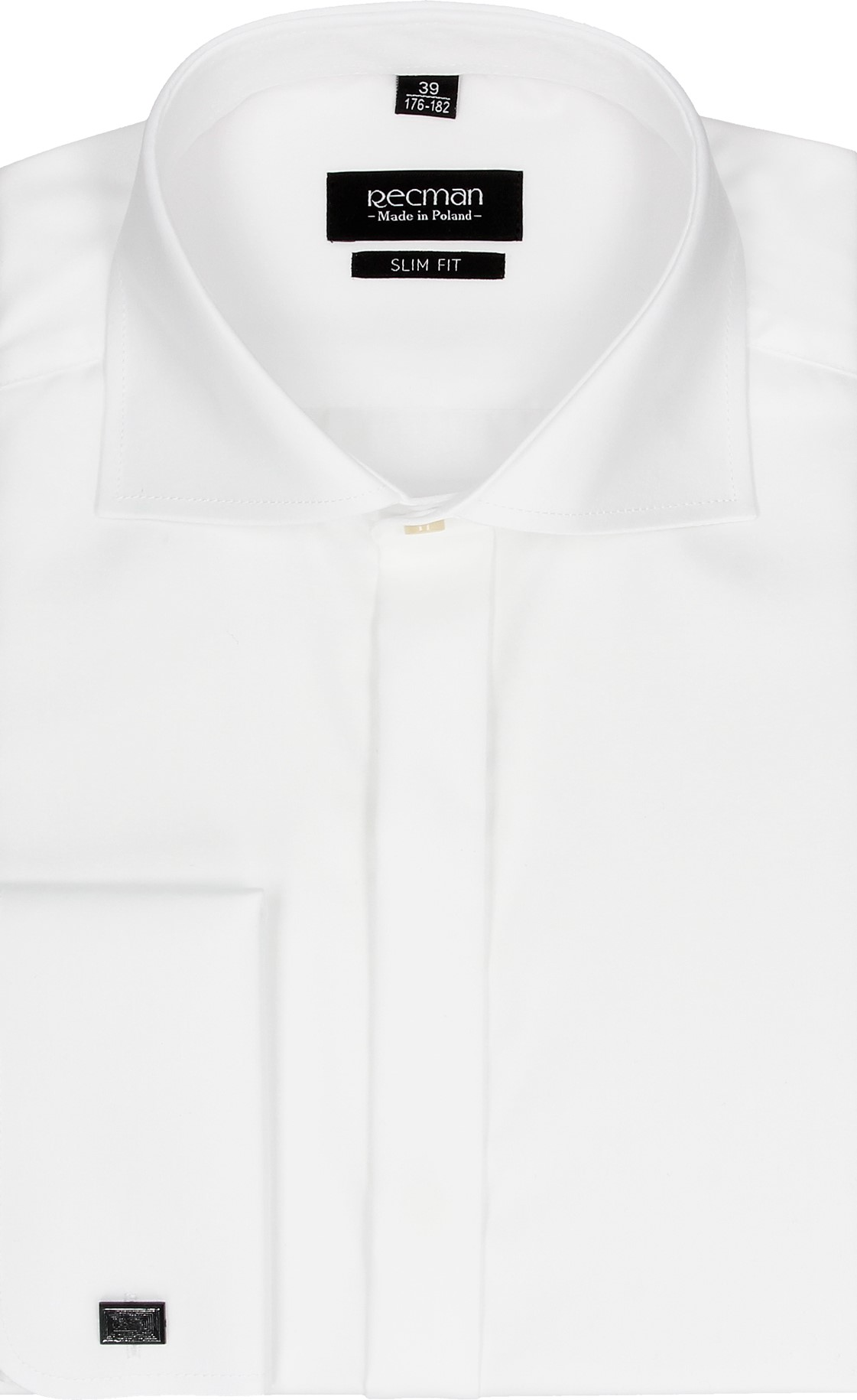 koszula versone 2508 na spinki slim fit ecru