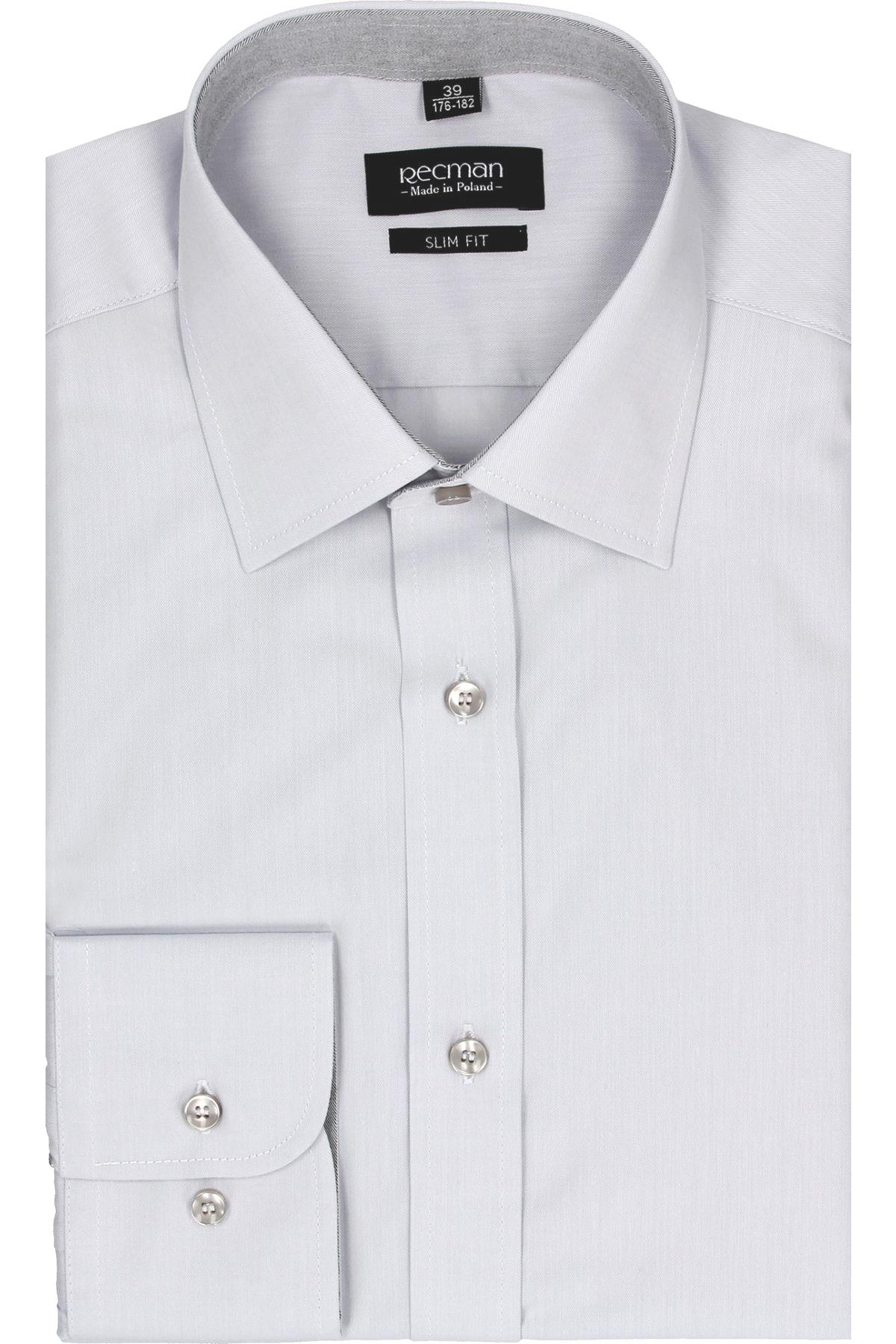 koszula bexley 2499 długi rękaw slim fit szary