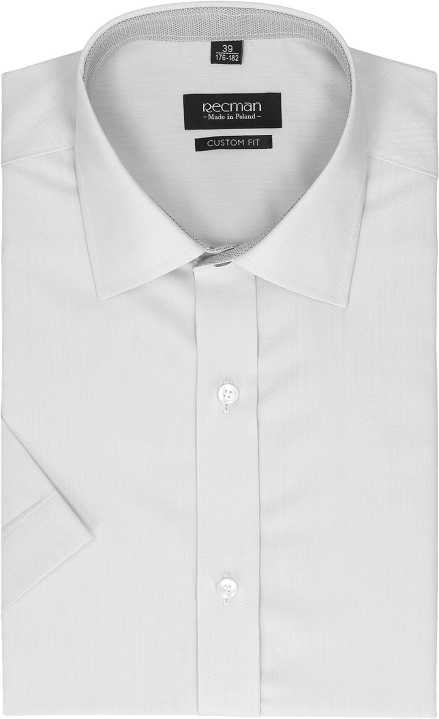 koszula bexley 2499 krótki rękaw slim fit szary