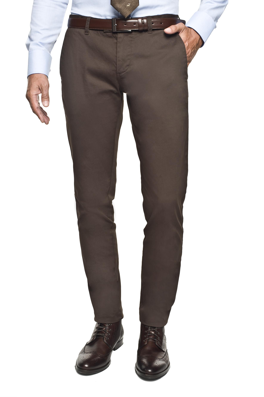 spodnie bimont 214 brąz slim fit