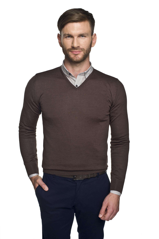 sweter valero w serek brąz 0001