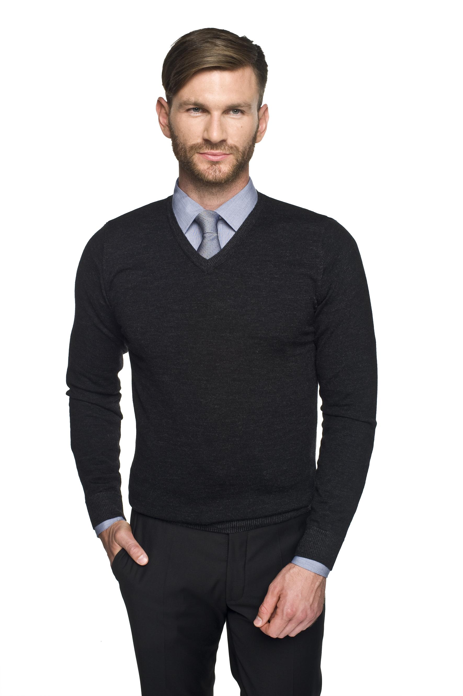sweter marlow w serek czarny
