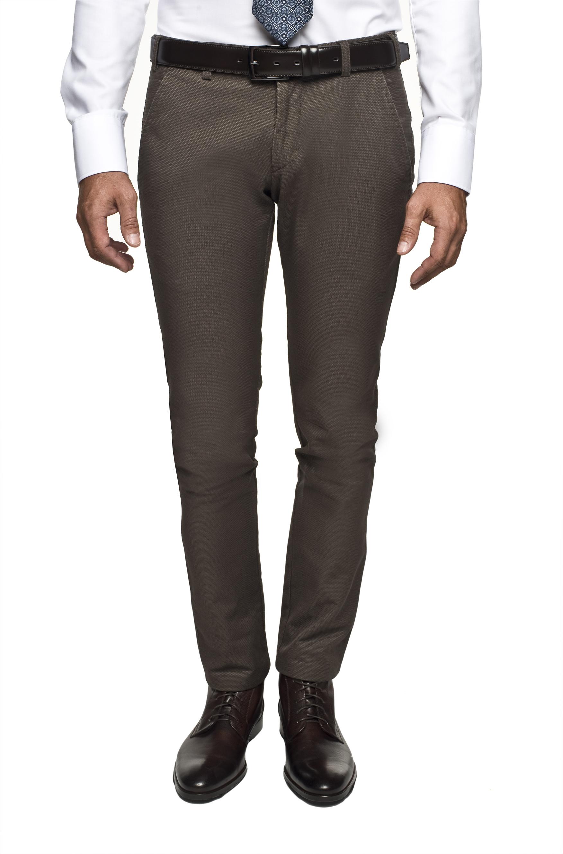 spodnie mezza 216 brąz slim fit