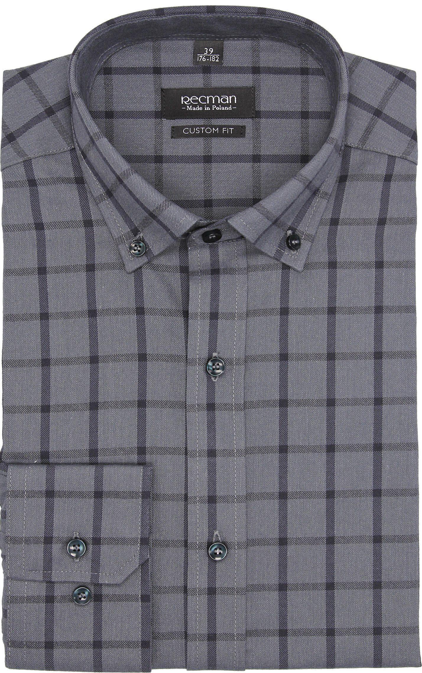 koszula bexley f2647 długi rękaw custom fit szary
