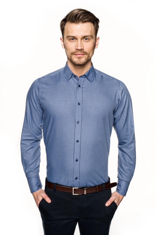 koszula bexley f2681 długi rękaw custom fit niebieski