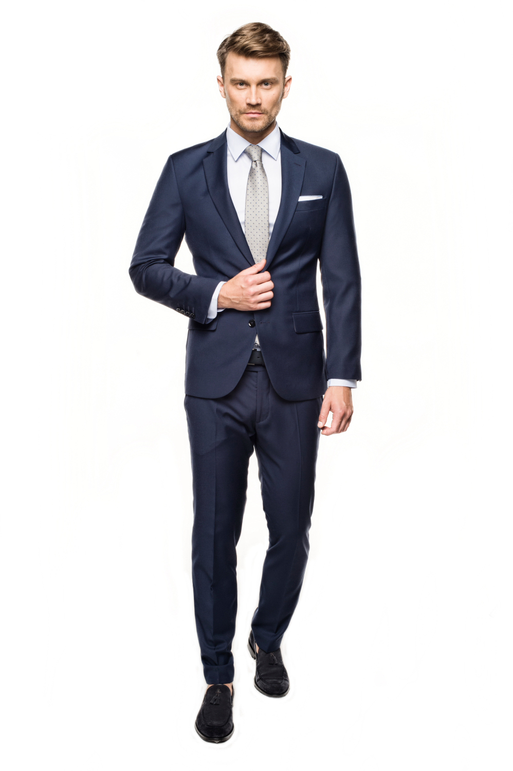 garnitur beverin 313 niebieski slim fit
