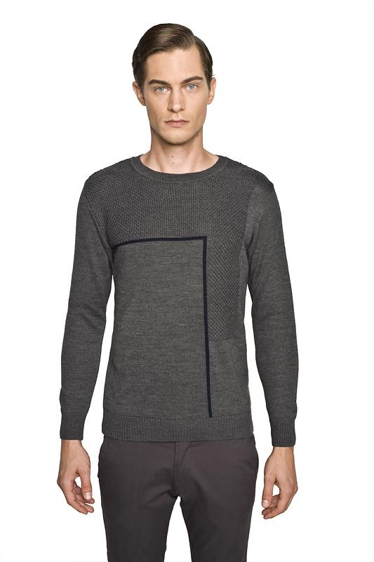 sweter slam półgolf szary