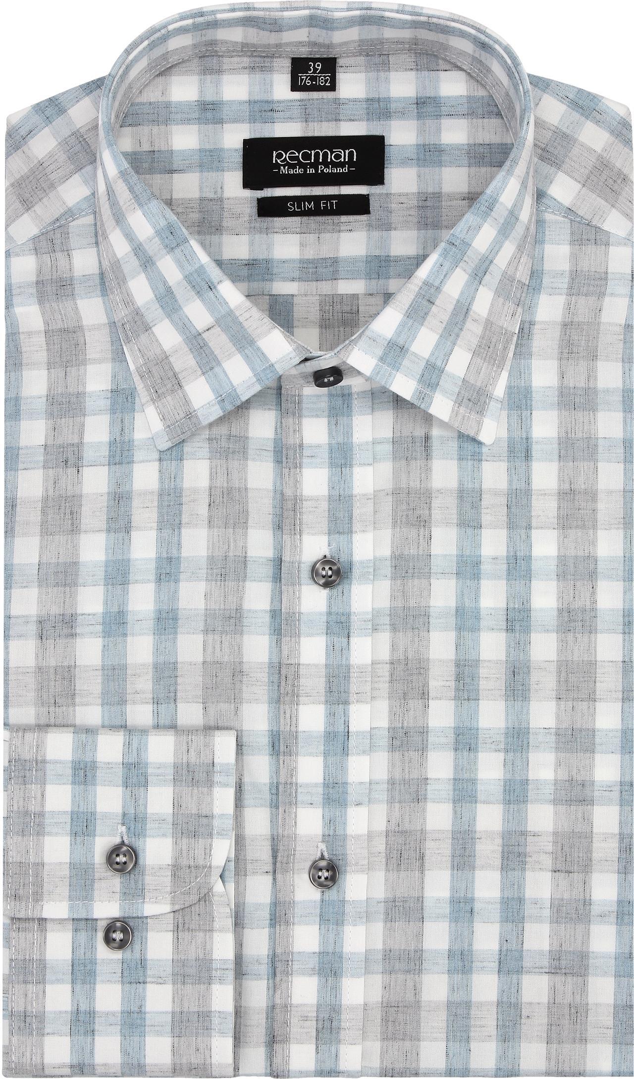 koszula versone 2741 długi rękaw slim fit niebieski