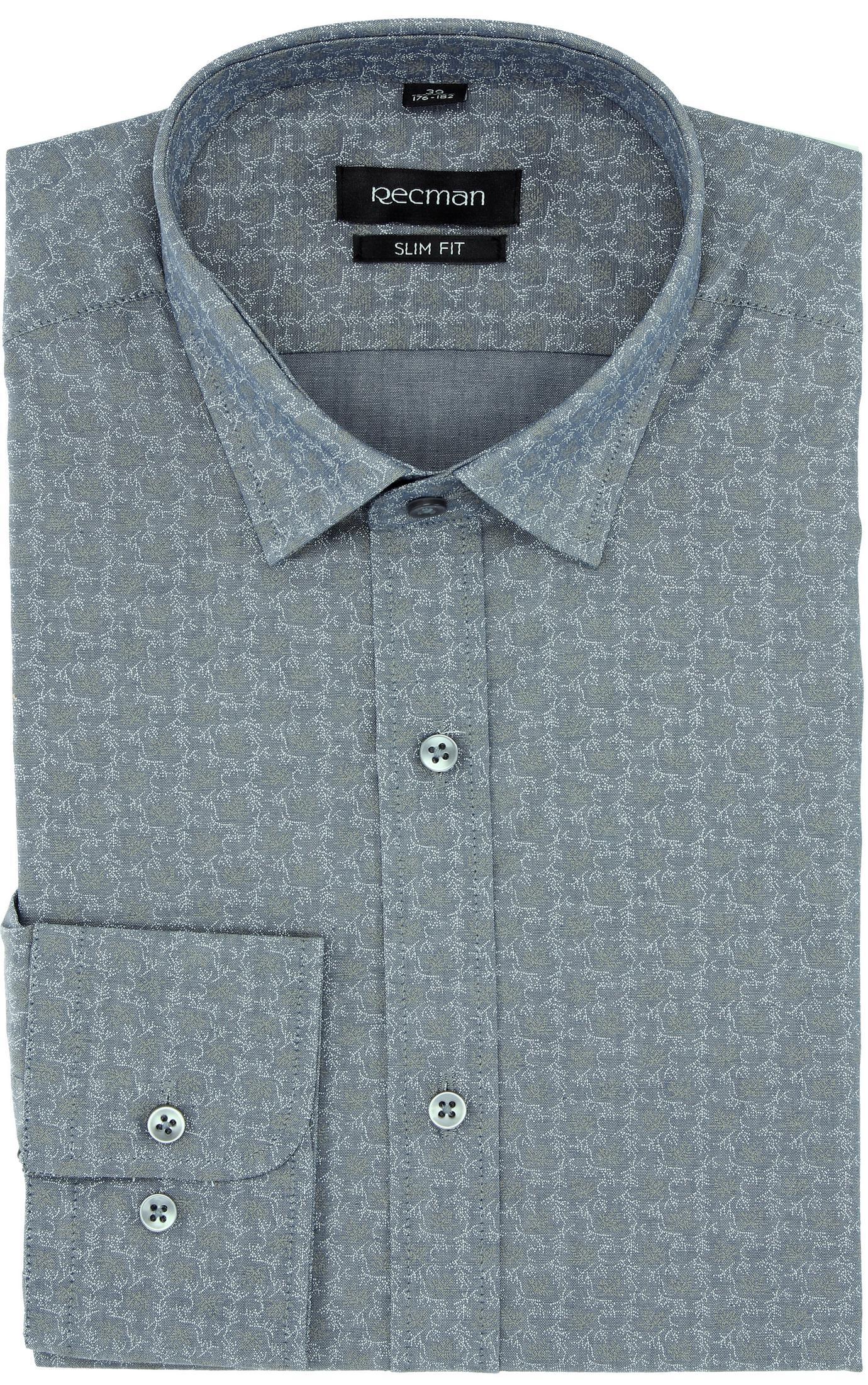 koszula versone 5007a długi rękaw slim fit szary