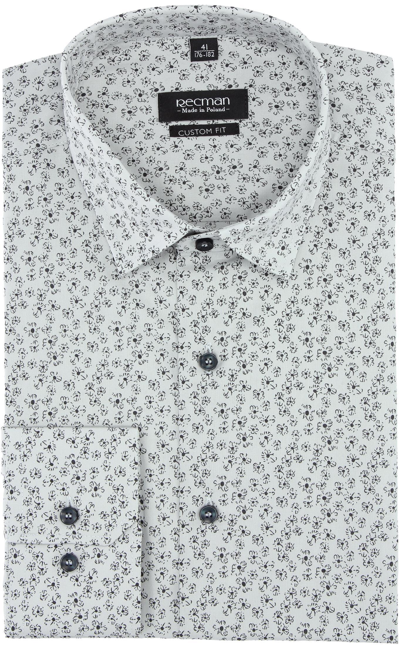 koszula versone 2831 długi rękaw custom fit szary