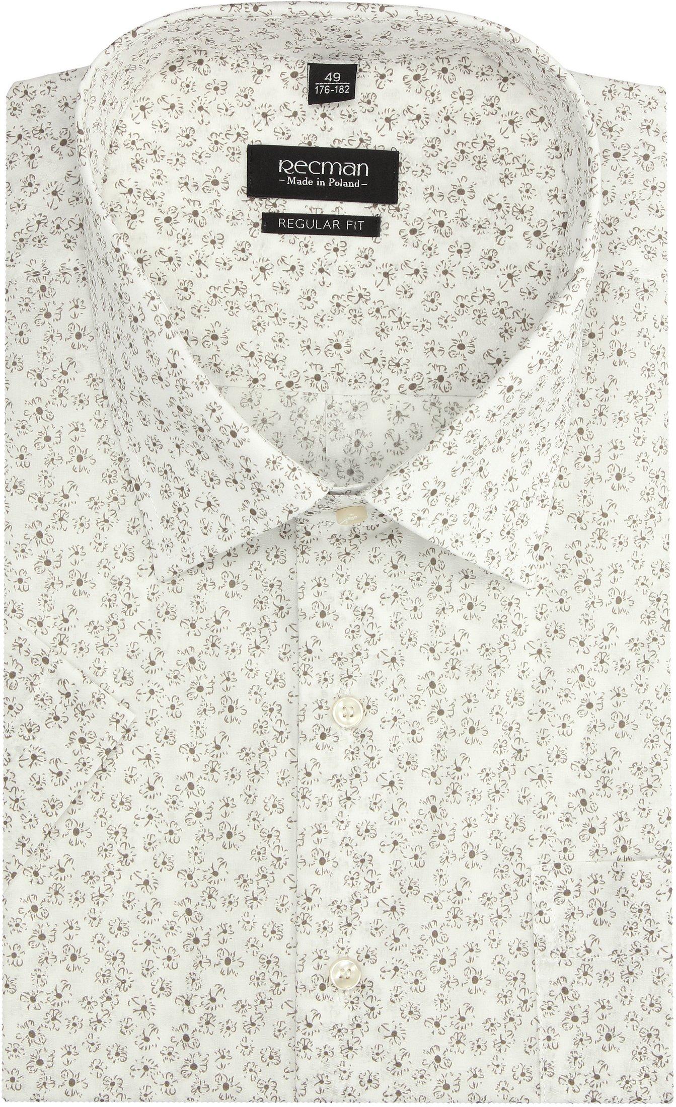 koszula bexley 2836 krótki rękaw regular fit beż