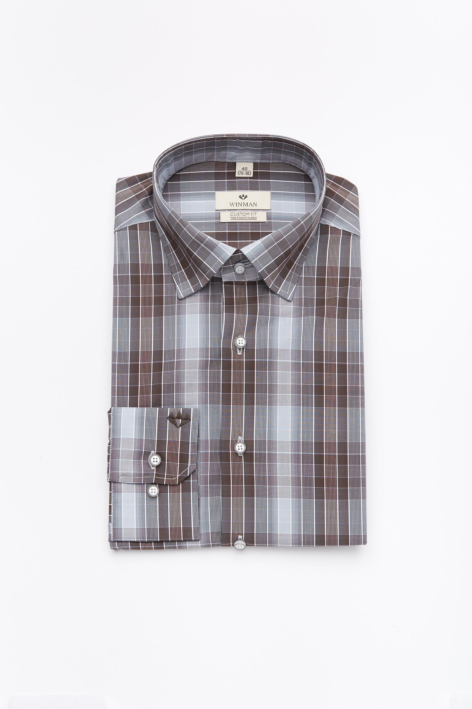 koszula winberg 2166 długi rękaw custom fit brąz
