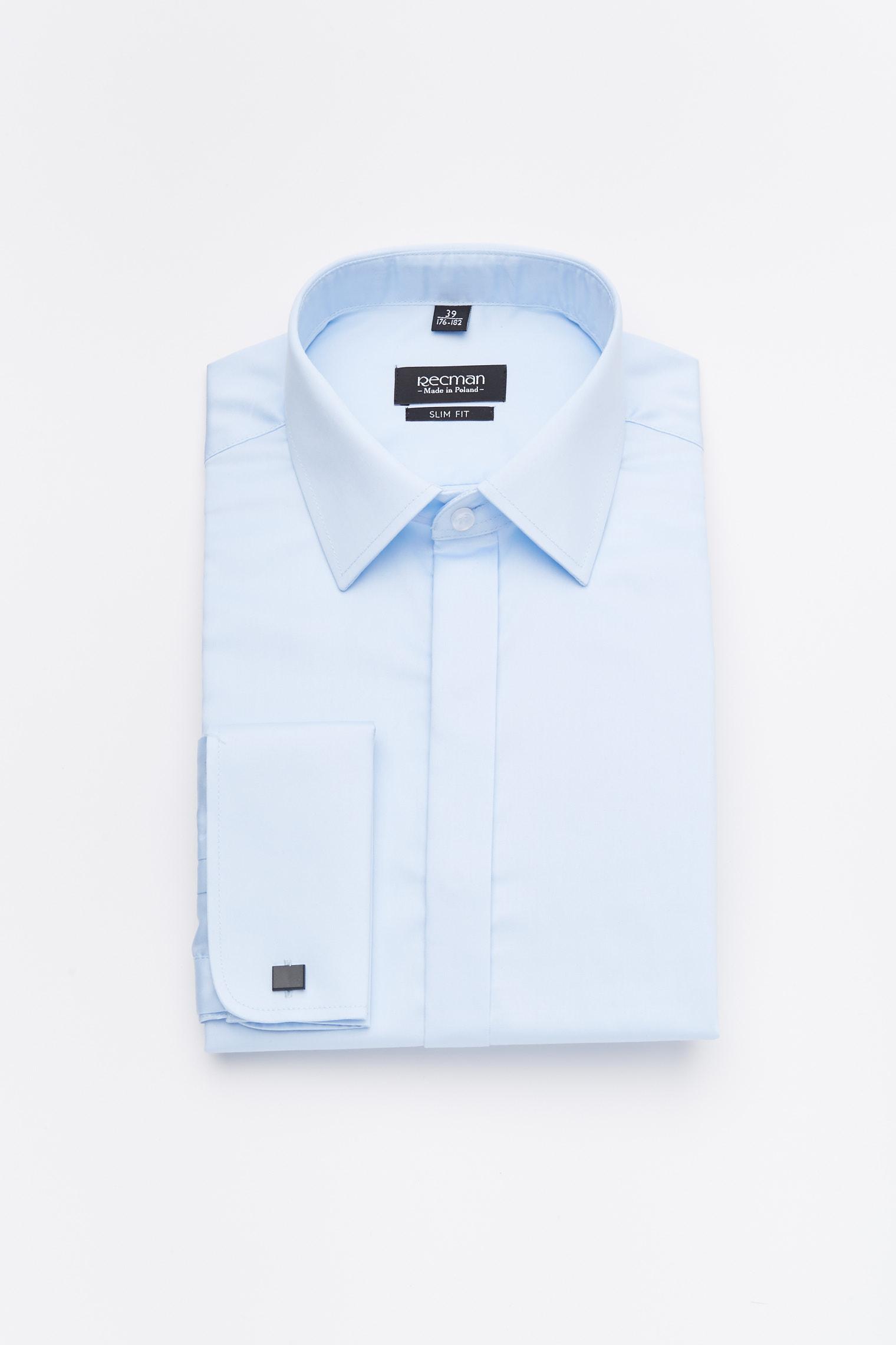 koszula versone 2896 na spinki slim fit niebieski