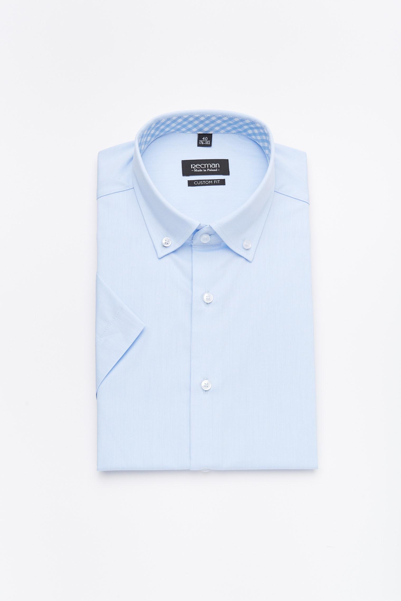 koszula bexley 2496/2 krótki rękaw custom fit niebieski