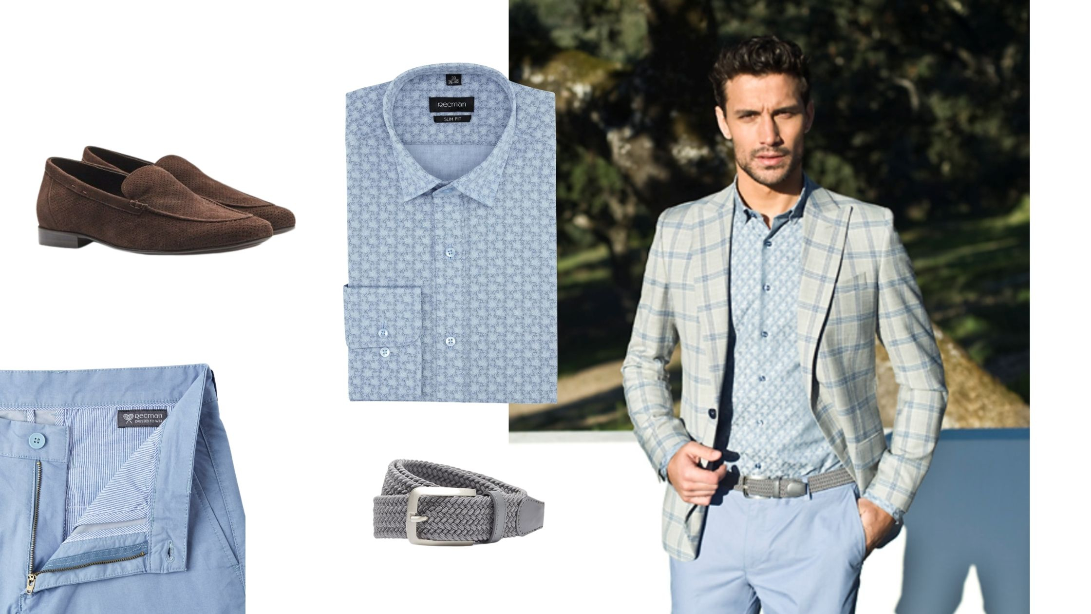 Niebieskie spodnie w stylizacji ze wzorzystą koszulą