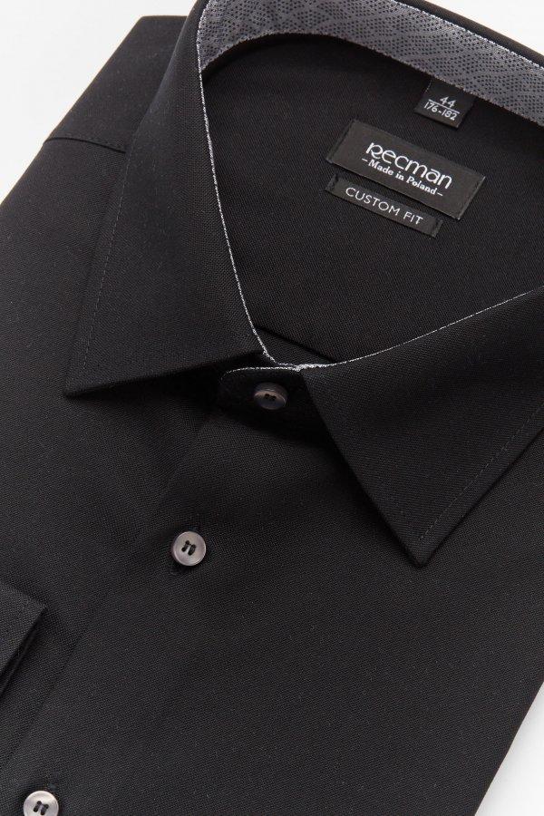 Czarna koszula męska custom fit