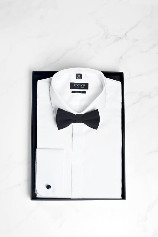 Formalna biała koszula z kołnierzykiem włoskim