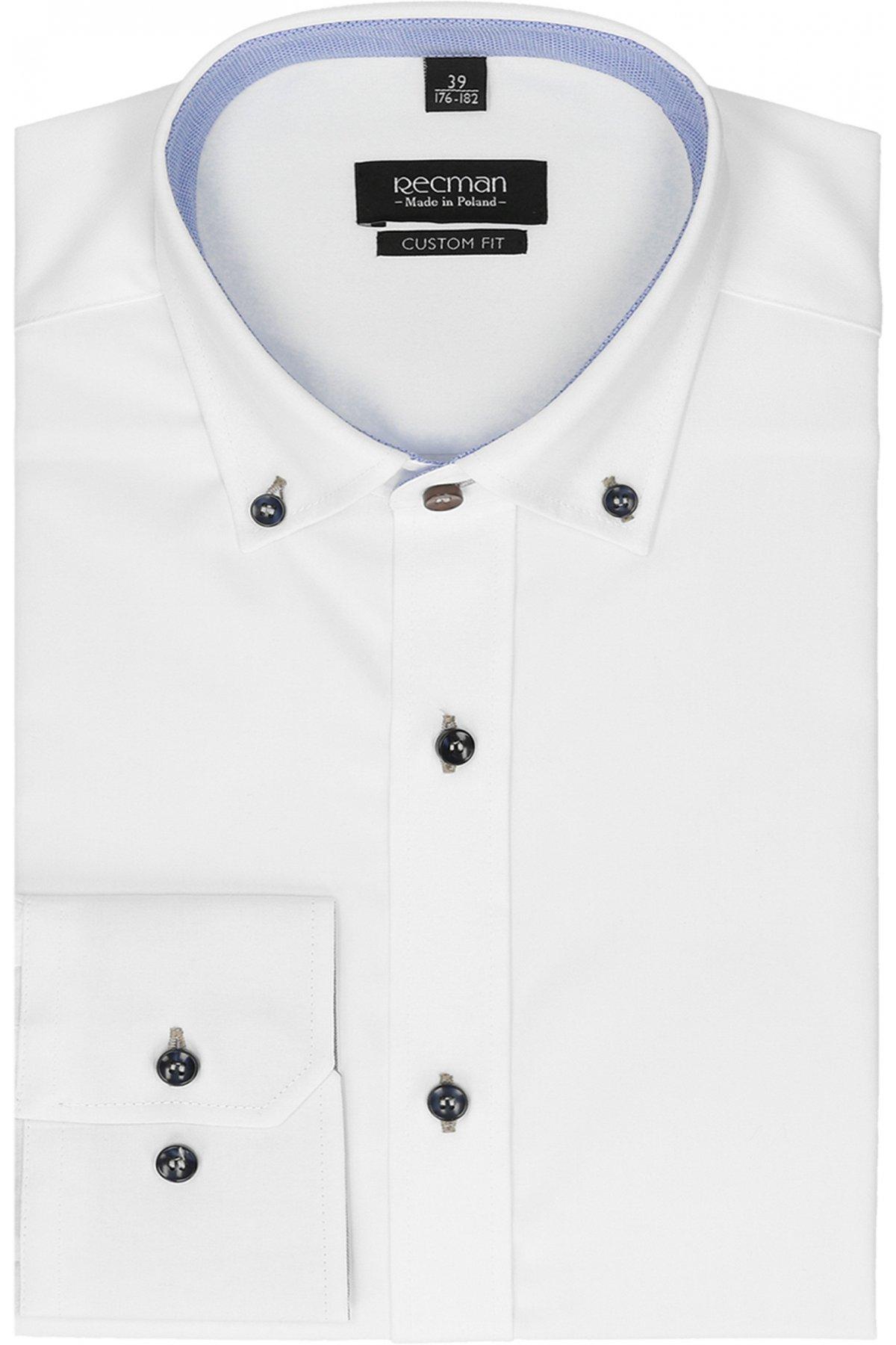 Nieformalna biała koszula z kołnierzykiem typu button down